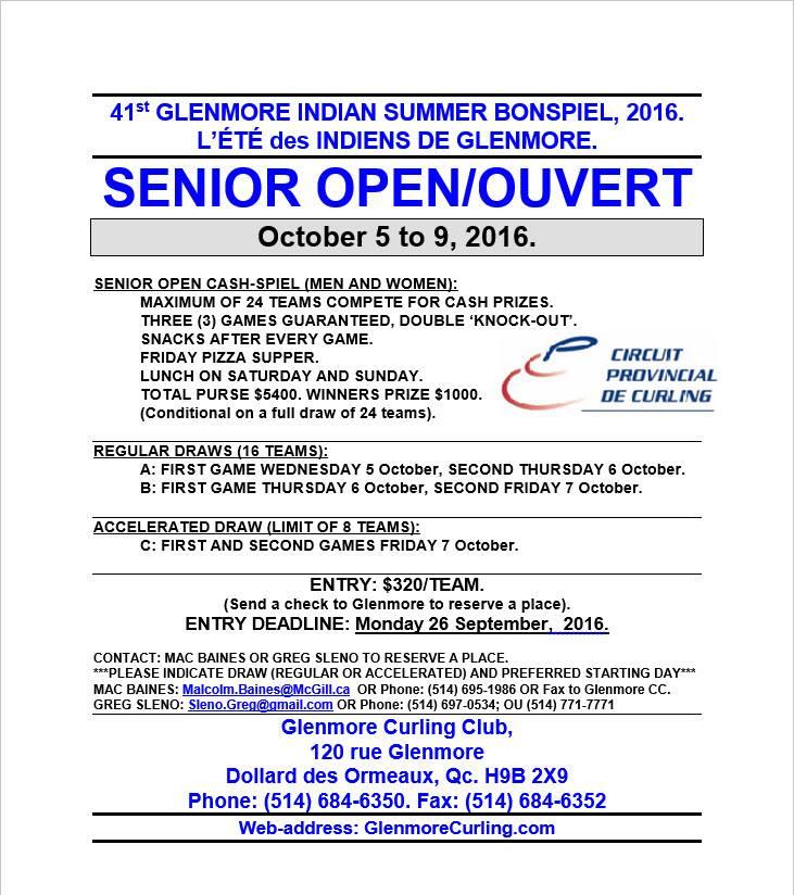 2016 Glenmore Indian Summer – Senior   Glenmore Curling
